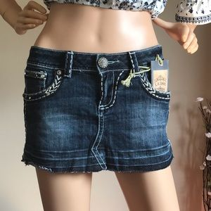 L.A. IDOL Jeweled Blue Denim Jean Mini Skirt SizeM